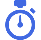 Graphic of blue stop watch